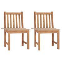 vidaXL Garden Chairs 2 pcs with Cushions Solid Teak Wood