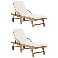 vidaXL Sun Loungers with Cushions 2 pcs Solid Teak Wood Cream
