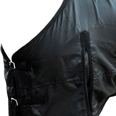"vidaXL Fleece Rug Double Layers with Surcingles 53.1"" Black"