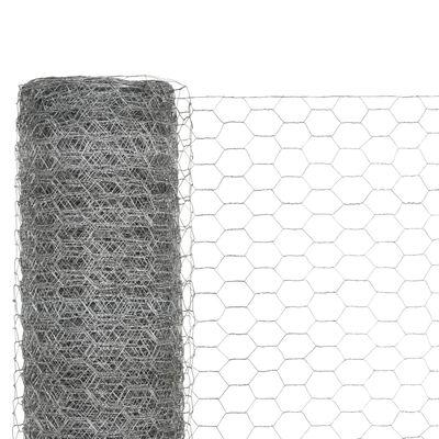 vidaXL Chicken Wire Fence Galvanised Steel 82'x4.9' Silver