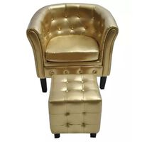vidaXL Tub Chair with Footrest Gold Faux Leather