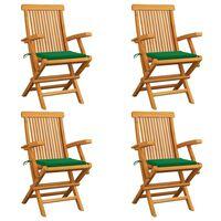 vidaXL Garden Chairs with Green Cushions 4 pcs Solid Teak Wood