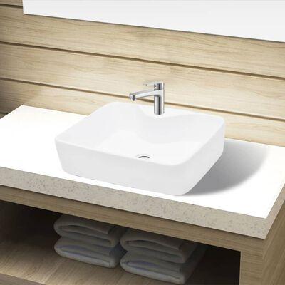 vidaXL Ceramic Bathroom Sink Basin with Faucet Hole White Square