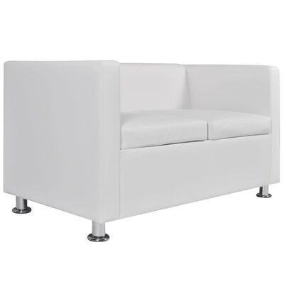 vidaXL Sofa 2-Seater Artificial Leather White