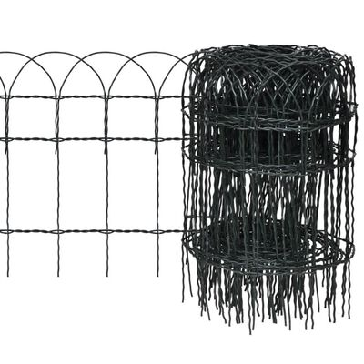 vidaXL Garden Border Fence Powder-coated Iron 82'x1.3'