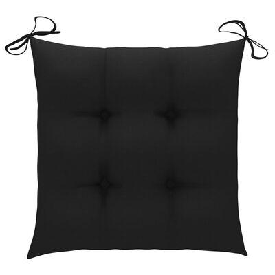 vidaXL Garden Chairs 2 pcs with Black Cushions Solid Teak Wood