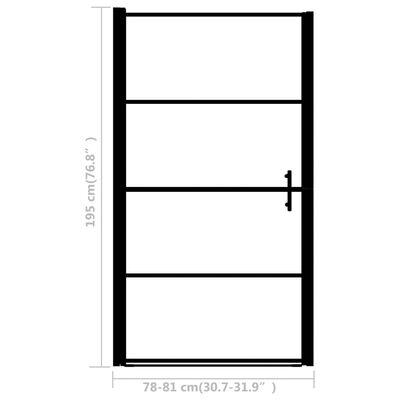 """vidaXL Shower Door Frost Tempered Glass 31.9""""x76.8"""" Black"""