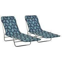 vidaXL Folding Sun Loungers 2 pcs Steel and Fabric Leaf Pattern