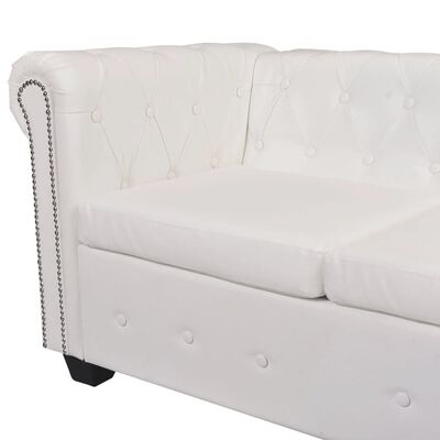 vidaXL Chesterfield Corner Sofa 5-Seater White Faux Leather
