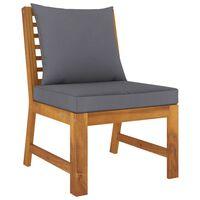 vidaXL Sectional Middle Sofa with Dark Gray Cushion Solid Acacia Wood