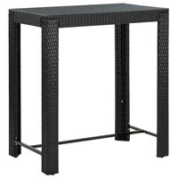 """vidaXL Garden Bar Table Black 39.4""""x23.8""""x43.5"""" Poly Rattan"""