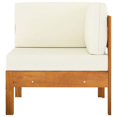 vidaXL Middle Sofa with Cream White Cushions Solid Acacia Wood