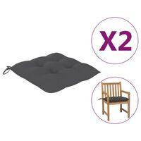 "vidaXL Chair Cushions 2 pcs Anthracite 19.7x19.7""x2.8"" Fabric"""