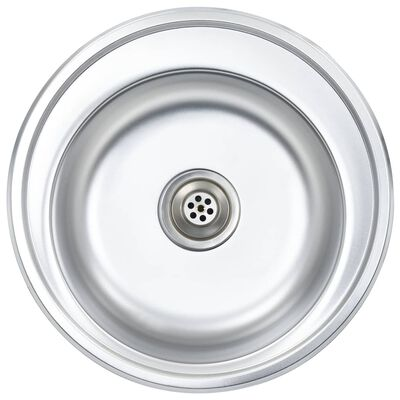 vidaXL Kitchen Sink with Strainer and Trap Stainless Steel