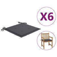 "vidaXL Garden Chair Cushions 6 pcs Anthracite 19.7""x19.7""x1.6"" Fabric"