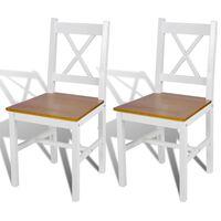vidaXL Dining Chairs 2 pcs White Pinewood