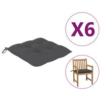 "vidaXL Chair Cushions 6 pcs Anthracite 19.7x19.7""x2.8"" Fabric"""