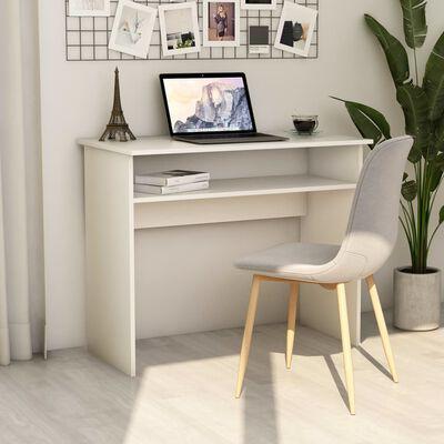 "vidaXL Desk White 35.4""x19.6""x29.1"" Chipboard"