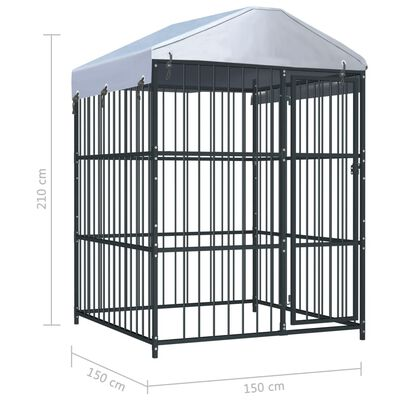 """vidaXL Outdoor Dog Kennel with Roof 59.1""""x59.1""""x82.7"""""""