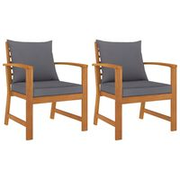 vidaXL Garden Chairs 2 pcs with Dark Gray Cushion Solid Acacia Wood