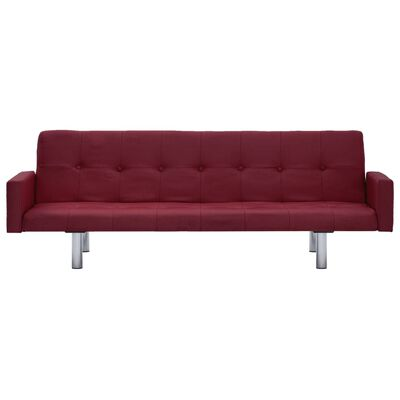 vidaXL Sofa Bed with Armrest Wine Red Fabric