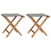 vidaXL Folding Chairs 2 pcs Solid Teak Wood and Fabric Dark Gray