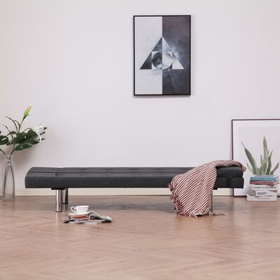vidaXL Sofa Bed with Two Pillows Dark Gray Fabric