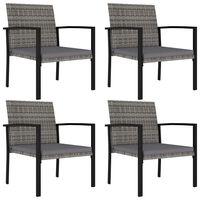 vidaXL Garden Dining Chairs 4 pcs Poly Rattan Gray