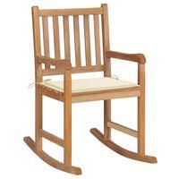 vidaXL Rocking Chair with Cream Cushion Solid Teak Wood