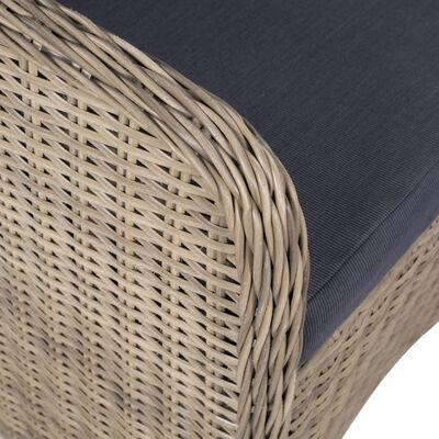 vidaXL 3 Piece Bistro Set with Cushions Poly Rattan Brown