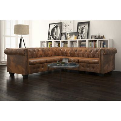 vidaXL Chesterfield Corner Sofa 5-Seater Brown Faux Leather