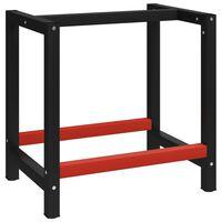 "vidaXL Work Bench Frame Metal 31.5""x22.4""x31.1"" Black and Red"
