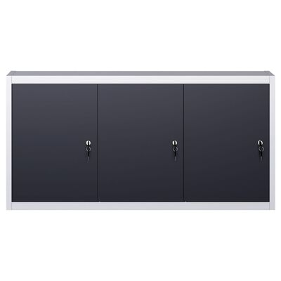 vidaXL Wall Mounted Tool Cabinet Industrial Style Metal Gray and Black