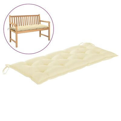 "vidaXL Garden Bench Cushion Cream White 47.2x19.7""x2.8"" Fabric"""