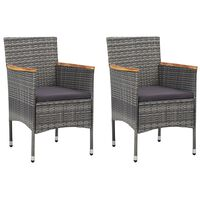 vidaXL Garden Dining Chairs 2 pcs Poly Rattan Gray