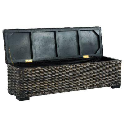 "vidaXL Storage Box 47.2"" Black Kubu Rattan and Solid Mango Wood"