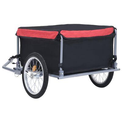 vidaXL Bike Cargo Trailer Black and Red 143.3 lb