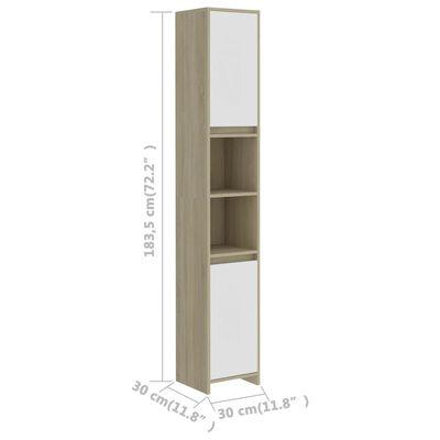 "vidaXL Bathroom Cabinet White and Sonoma Oak 11.8""x11.8""x72.2"" Chipboard"
