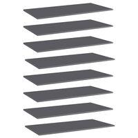 "vidaXL Bookshelf Boards 8 pcs High Gloss Gray 31.5""x11.8""x0.6"" Chipboard"