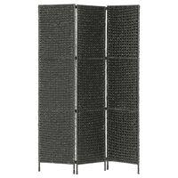 "vidaXL 3-Panel Room Divider Black 45.7""x63""  Water Hyacinth"