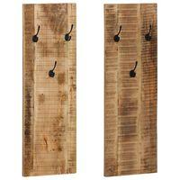 "vidaXL Wall-mounted Coat Racks 2 pcs Solid Mango Wood 14.2""x43.3""x1.2"""