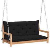 "vidaXL Swing Bench with Black Cushion 47.2"" Solid Teak Wood"