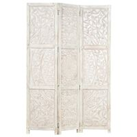 """vidaXL Hand carved 3-Panel Room Divider White 47.2""""x65"""" Solid Mango Wood"""