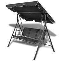 vidaXL Garden Swing Bench with Canopy Black
