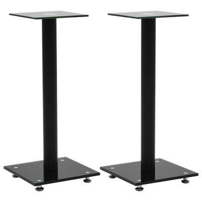 vidaXL Speaker Stands 2 pcs Tempered Glass 1 Pillar Design Black