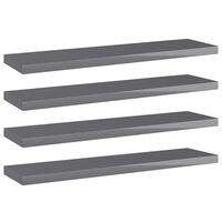 "vidaXL Bookshelf Boards 4 pcs High Gloss Gray 15.7""x3.9""x0.6"" Chipboard"