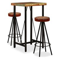 vidaXL Bar Set 5 Pieces Solid Reclaimed Wood, Genuine Leather & Canvas