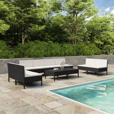 vidaXL 10 Piece Garden Lounge Set with Cushions Poly Rattan Black