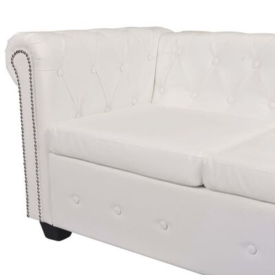 vidaXL Chesterfield Corner Sofa 6-Seater White Faux Leather