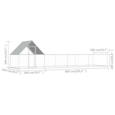vidaXL Chicken Coop 26.2'x6.6'x6.6' Galvanized Steel